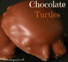 Chocolate Turtles Candy Recipe | whatscookingamerica.net #chocolate #turtles #candy #christmas