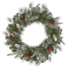 NorthLight 36 in. Pre-Lit Frosted Pine Berry Artificial Christmas Wreath - Clear Lights, As Shown Christmas Wreaths With Lights, Artificial Christmas Wreaths, Holiday Wreaths, Christmas Decorations, Berry Wreath, Natural Home Decor, Christmas Central, Red Berries, Beautiful Christmas