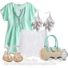 Ahhhhhhhh my fav color--mint. This top is precious! This Polyvore designer is always right on the mark:) That handbag is fabulousssssssss!