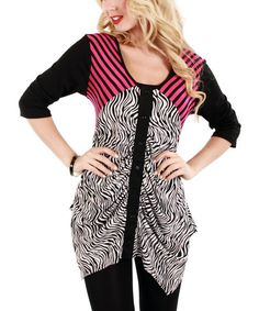 Look at this #zulilyfind! Black & Pink Zebra Sidetail Tunic #zulilyfinds