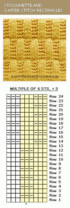 Knit Purl Chart pattern. So easy to knit, even beginners