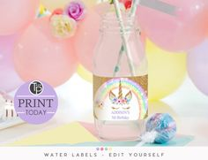 Rainbow Unicorn Invitation, Editable template, Edit at home Unicorn Printables, Party Printables, Unicorn Water Bottle, Printable Water Bottle Labels, Rainbow Unicorn Party, Unicorn Invitations, Favor Tags, 5th Birthday, As You Like