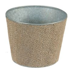 5-inch Burlap Wrapped Tin Planter