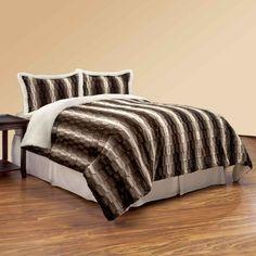 View Bedding - NorthCrest Textured Ombre Faux Fur Comforter Set