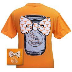 Tennessee Vols Volunteers Mason Jar Big Bow Big Orange Girlie Bright T Shirt