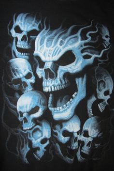 Blue Skulls Short Sleeve T-shirt is a wicked kewl design. Very bright vibrant colors in this creepy design. - oz - preshrunk heavy duty cotton tees - Screen Printed Image - Unisex sizes - T-s Evil Skull Tattoo, Skull Tattoo Design, Skull Tattoos, Body Art Tattoos, Airbrush Skull, Skull Stencil, Airbrush Designs, Skull Pictures, Skull Artwork