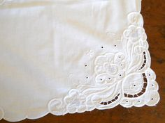 vintage embroidered tablecloth Richelieu by minoucbrocante on Etsy, €21.50