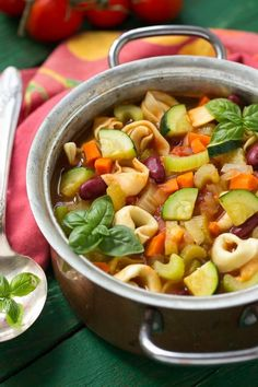 Tortellini Minestrone Soup - Dinner at the Zoo-This healthy one pot tortellini minestrone soup is full of vegetables and cheese stuffed pasta.