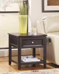 cross island mission rectangular end table with hidden power strip