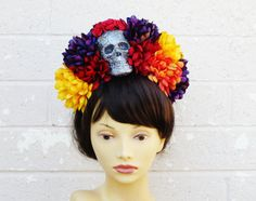 Dia De Los Muertos Headband Day of the Dead Skull Flower by LilaJo, $58.00
