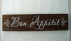 Bon Appetit  Wood Sign by Creationsonwoodshop on Etsy