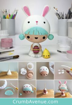 Cute Little Girl in Easter Bunny Costume Cake Topper - FREE step-by-step TUTORIAL - fondant, gum paste, figurine, kawaii, kids, chick, chicken, rabbit, egg