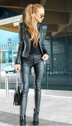 Biker Style Leather Outfit