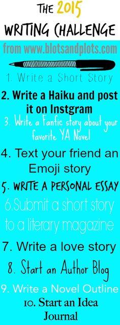 2015 Writing Challenge by Jenny Bravo of Blots & Plots