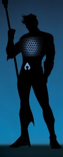 Aquaman: Half-human and half-Atlantean, Aquaman is forever an outsider to both worlds. He inherits the responsibility to protect land and sea, from themselves and one another.