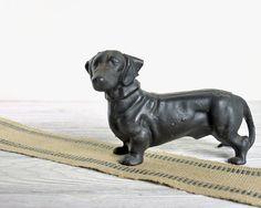 Vintage Cast Iron Dachshund / Dog Figurine / Cast by havenvintage, $34.00
