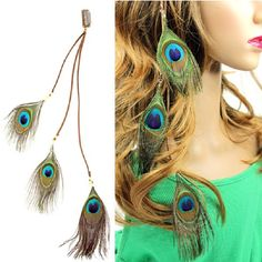 Top 10 Breathtaking Peacock Inspired Looks and DIY Projects - Top Inspired Peacock Hair, Peacock Jewelry, Feather Jewelry, Feather Earrings, Hair Jewelry, Feather Hair Clips, Feather Headband, Hair Feathers, Peacock Feathers