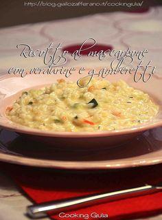 risotto al mascarpone con gamberi e verdurine