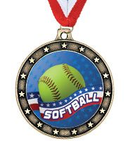 Trophy Direct's Star Softball Medal Features An Extraordinary Design. As The Perfect Medal Award For Your Softball Team, This Multi-Level Medallion Is Available In Gold, Silver and Bronze and Comes With A Free Sport Ribbon.