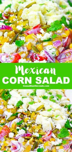 Five Approaches To Economize Transforming Your Kitchen Area New Like The Iconic Street Food Version, Creamy, Tangy Dressing Coats This Delicious Mexican Corn Salad. Its Packed With Mexican Flavors and Just A Hint Of Heat Summer Corn Salad, Summer Salad Recipes, Summer Salads, Summer Food, Corn Recipes, Side Dish Recipes, Mexican Food Recipes, Dinner Recipes, Suddenly Salad