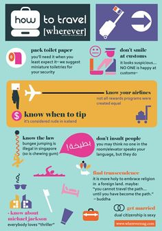 [wherever] magazine's tips and tricks for how to travel [wherever] and avoid stress along the way. #infographic #travel #funny