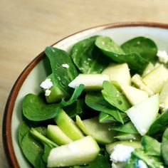 "Spinach, Apple and Feta Salad"" Made with fresh spinach, sliced apples, and feta cheese, and tossed with red wine vinegar."