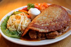 POTATO PANCAKE HUNGARIAN STYLE with goulash from cafe Polonez