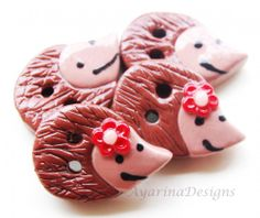 Hedgehogs - set of 4 polymer clay buttons