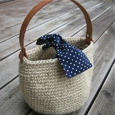 cotton or twine bag with leather handles