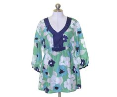 A Pea in the Pod Maternity Green Blue White Floral Silk Tunic Style Blouse L NWT #APeaInThePod #Blouse #Casual