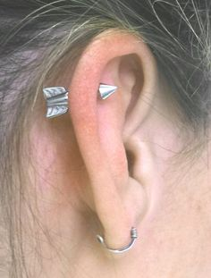 Silver Arrow Cartilage Earring Tragus Helix by MidnightsMojo, $12.00