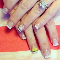 Easter bunny rabbit and chick nails