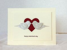 Stampin Up - Valentine card using:  Bird Punch & Silver Glimmer Paper, Heart punch and Essentials Paper-Piercing Pack to 'frame' the punched out heart by piercing holes around it.
