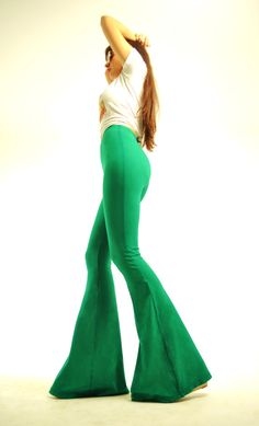 Bell Bottoms - Extra Long High Waisted Green Bellbottoms - Flare Pants - Wideleg Pants - Cotton Hippie Bellbottoms Sizes Xs, S, M, L, Xl