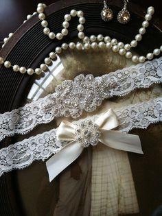 Wedding Garter  Ivory Lace Garter Set  by thehoneybeeshop on Etsy, $35.00