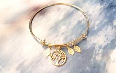 SALE! Gold Bracelet, Personalized initial bangle bracelet, Family Tree Bracelet, Tree of life MOTHER bracelet, friendship, Bridesmaid Gift