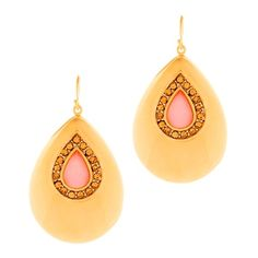 The Roseanne Earrings have a 70s vibe? in a good way! Crafted of a polished gold teardrop and pink quartz encrusted with crystals, these earrings will frame your face and highlight your cheekbones. You'll love them with a silk dress and slingbacks. Shop  <3 spidazzlingjewels.kitsylane.com  <3