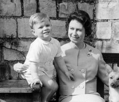 queen elizabeth ii and a young prince andrew in bed c