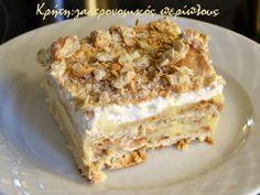gr 2017 06 syntagi-millefeuille-me-cream-crackers-kai-anthos-aravositou. Greek Desserts, Greek Recipes, Desert Recipes, Cookbook Recipes, Cooking Recipes, Cream Crackers, Delicious Desserts, Yummy Food, Tasty