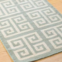 Showcasing a labyrinth of Greek Key design, this reversible wool dhurrie speaks to the past and the present! In Black or Sea Blue, adding a graphic design element to any room.(Specify size and color when ordering) Front Closet, Front Hallway, Dhurrie Rugs, Key To My Heart, Key Design, Greek Key, Florida Home, Beautiful Homes, House Beautiful