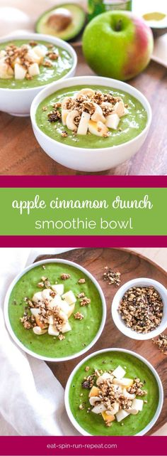 Apple Cinnamon Crunch Smoothie Bowl - Topped with cashews, granola, apple and an extra sprinkle of cinnamon, this high-protein vegan smoothie bowl is a breakfast you'll want to put on repeat!