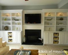 Fireplace Built-in Design, Pictures, Remodel, Decor and Ideas - page 86.  I like the open basket shelves, but might do some glass for media components