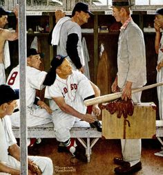 Original Norman Rockwell Paintings | Norman Rockwell's Red Sox Locker Room