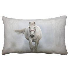 #beauty - #Beautiful white horse in mist lumbar pillow