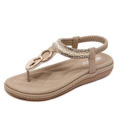 SOCOFY Metal Beaded Bohemia Clip Toe Elastic Flat Sandals