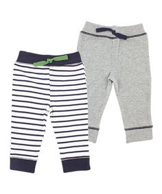 Another great find on #zulily! Yoga Sprout Gray & Navy Stripe Pants Set by Yoga Sprout #zulilyfinds
