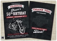 Harley Davidson style birthday invitation card