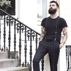 Chris John Millington full thick dark beard and mustache beards bearded man men bearding mens style dapper fall autumn fashion clothing suspenders tattoos tattooed
