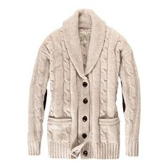 Shawl Neck / Cable Knit Cardigan