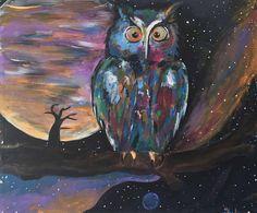 WOKE AF. Original Acrylic Expressionist Owl Painting